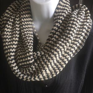 Knitted Winter Scarf Black and White 8x66
